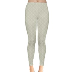 Rich Cream Stitched and Quilted Pattern Leggings  by PodArtist
