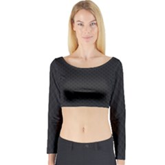 Sleek Black Stitched And Quilted Pattern Long Sleeve Crop Top by PodArtist