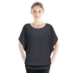 Sleek Black Stitched and Quilted Pattern Blouse by PodArtist