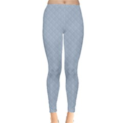 Powder Blue Stitched and Quilted Pattern Leggings  by PodArtist