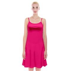 Super Bright Fluorescent Pink Neon Spaghetti Strap Velvet Dress