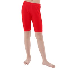 Bright Fluorescent Fire Ball Red Neon Kids  Mid Length Swim Shorts by PodArtist