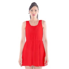 Bright Fluorescent Fire Ball Red Neon Scoop Neck Skater Dress by PodArtist