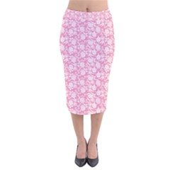 Roses pattern Velvet Midi Pencil Skirt by Valentinaart