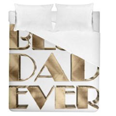 Best Dad Ever Gold Look Elegant Typography Duvet Cover (queen Size) by yoursparklingshop