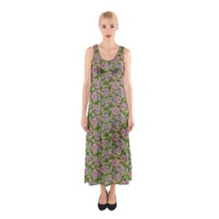 Roses Pattern Sleeveless Maxi Dress by Valentinaart