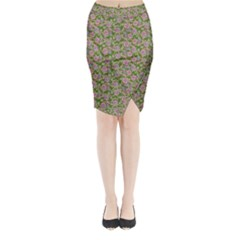 Roses pattern Midi Wrap Pencil Skirt by Valentinaart