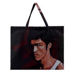 Bruce Lee Zipper Large Tote Bag by Valentinaart
