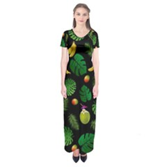 Tropical Pattern Short Sleeve Maxi Dress by Valentinaart