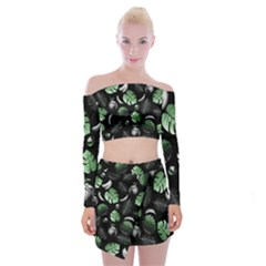 Tropical pattern Off Shoulder Top with Skirt Set by Valentinaart
