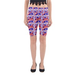 Happy 4th Of July Theme Pattern Yoga Cropped Leggings by dflcprintsclothing