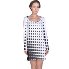 Comic Dots Polka Black White Long Sleeve Nightdress by Mariart