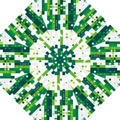 Generative Art Experiment Rectangular Circular Shapes Polka Green Vertical Hook Handle Umbrellas (large) by Mariart