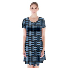 Woven1 Black Marble & Blue Colored Pencil Short Sleeve V Neck Flare Dress by trendistuff