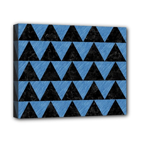 Triangle2 Black Marble & Blue Colored Pencil Canvas 10  X 8  (stretched) by trendistuff