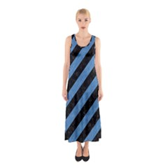 Stripes3 Black Marble & Blue Colored Pencil Sleeveless Maxi Dress by trendistuff