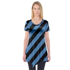 Stripes3 Black Marble & Blue Colored Pencil Short Sleeve Tunic  by trendistuff