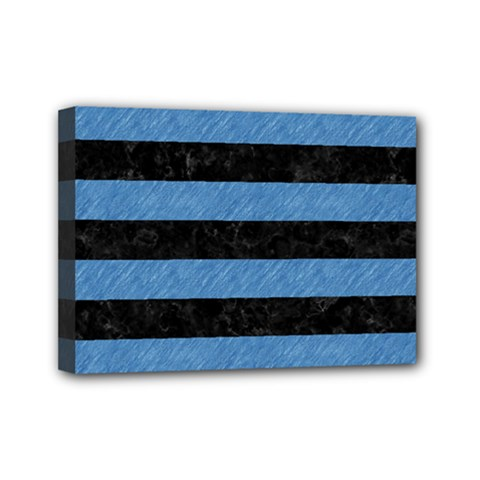 Stripes2 Black Marble & Blue Colored Pencil Mini Canvas 7  X 5  (stretched) by trendistuff