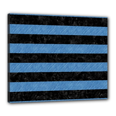 Stripes2 Black Marble & Blue Colored Pencil Canvas 24  X 20  (stretched) by trendistuff