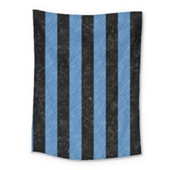 Stripes1 Black Marble & Blue Colored Pencil Medium Tapestry by trendistuff