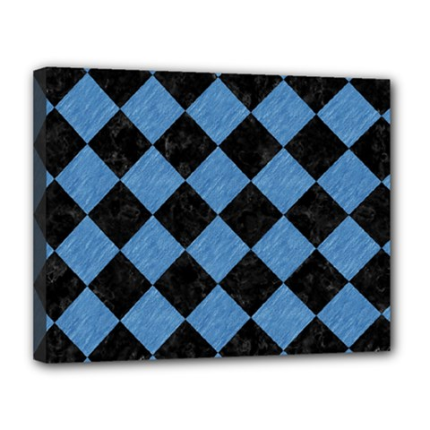 Square2 Black Marble & Blue Colored Pencil Canvas 14  X 11  (stretched) by trendistuff