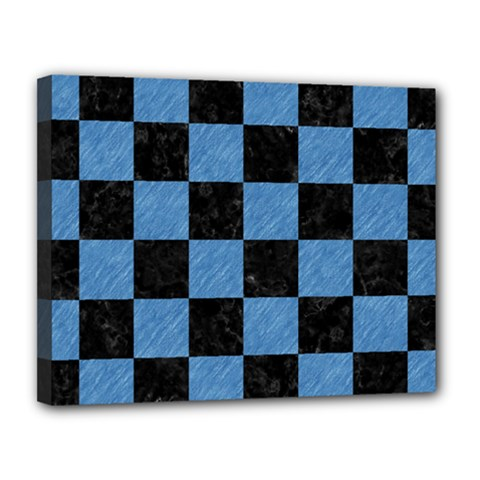 Square1 Black Marble & Blue Colored Pencil Canvas 14  X 11  (stretched) by trendistuff