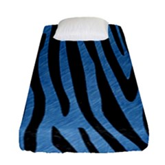 Skin4 Black Marble & Blue Colored Pencil Fitted Sheet (single Size) by trendistuff
