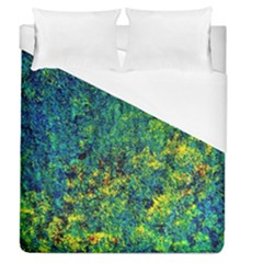Flowers Abstract Yellow Green Duvet Cover (queen Size) by Costasonlineshop