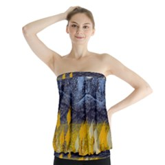 Blue And Gold Landscape With Moon Strapless Top by theunrulyartist