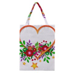 Heart Flowers Sign Classic Tote Bag by Nexatart