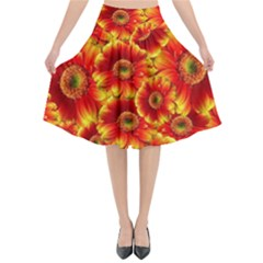 Gerbera Flowers Nature Plant Flared Midi Skirt by Nexatart