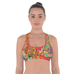 Background Texture Colorful Cross Back Sports Bra