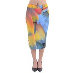 Spring Parrot Parrot Feathers Ara Velvet Midi Pencil Skirt by Nexatart