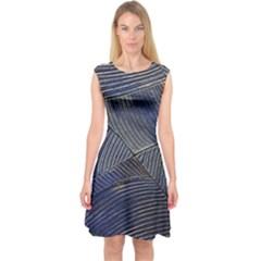 Textures Sea Blue Water Ocean Capsleeve Midi Dress by Nexatart