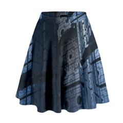 Graphic Design Background High Waist Skirt by Nexatart