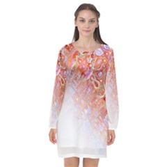 Effect Isolated Graphic Long Sleeve Chiffon Shift Dress