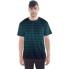 Optical Illusion Grid in Black and Neon Green Men s Sports Mesh Tee