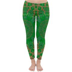 Summer Landscape In Green And Gold Classic Winter Leggings by pepitasart