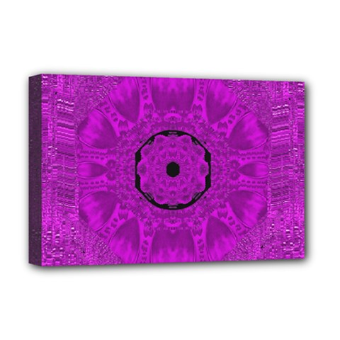 Purple Mandala Fashion Deluxe Canvas 18  X 12   by pepitasart