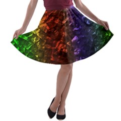 Multi Color Magical Unicorn Rainbow Shimmering Mother Of Pearl A Line Skater Skirt by PodArtist