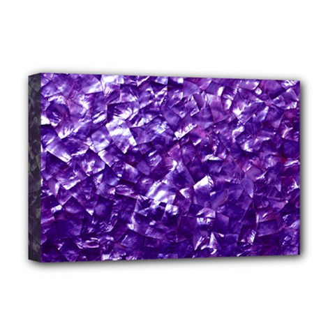 Natural Shimmering Purple Amethyst Mother of Pearl Nacre Deluxe Canvas 18  x 12   by PodArtist