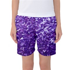Natural Shimmering Purple Amethyst Mother of Pearl Nacre Women s Basketball Shorts by PodArtist