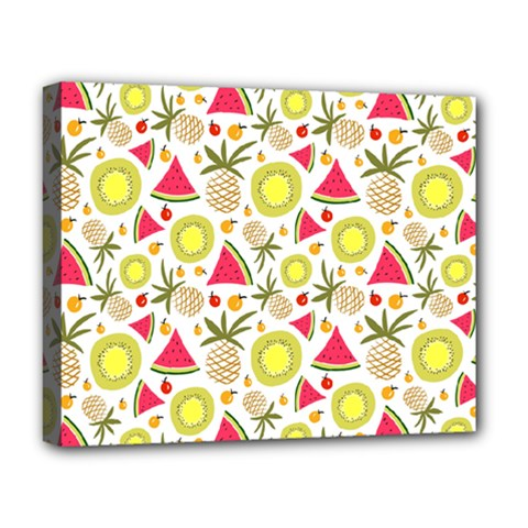 Summer Fruits Pattern Deluxe Canvas 20  X 16   by TastefulDesigns