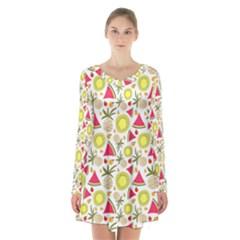 Summer Fruits Pattern Long Sleeve Velvet V Neck Dress by TastefulDesigns