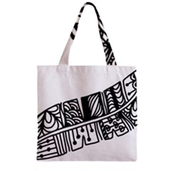 Feather Zentangle Zipper Grocery Tote Bag by CraftyLittleNodes