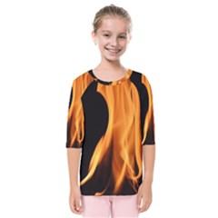 Fire Flame Pillar Of Fire Heat Kids  Quarter Sleeve Raglan Tee by Nexatart