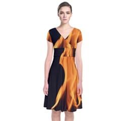 Fire Flame Pillar Of Fire Heat Short Sleeve Front Wrap Dress by Nexatart