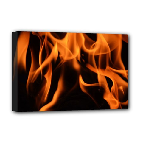 Fire Flame Heat Burn Hot Deluxe Canvas 18  X 12   by Nexatart