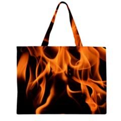 Fire Flame Heat Burn Hot Zipper Large Tote Bag by Nexatart