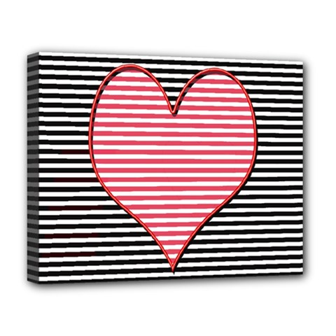 Heart Stripes Symbol Striped Deluxe Canvas 20  X 16   by Nexatart